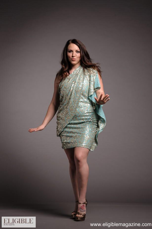 Badgley Mischka Aquamarine One-Shoulder Dress with Sequins Rental $90.00 Retail $525.00