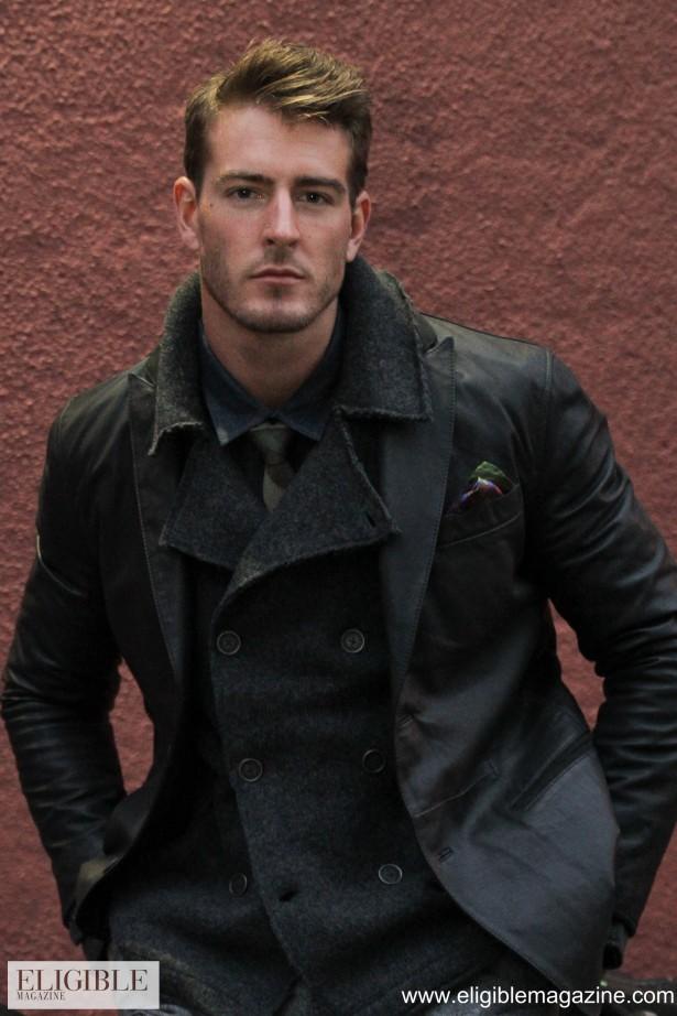 John Varvatos black leather blazer - Style: L541N1B-Y349 $1298.00/Dibi green camo tie - Style: USF12 $85.00