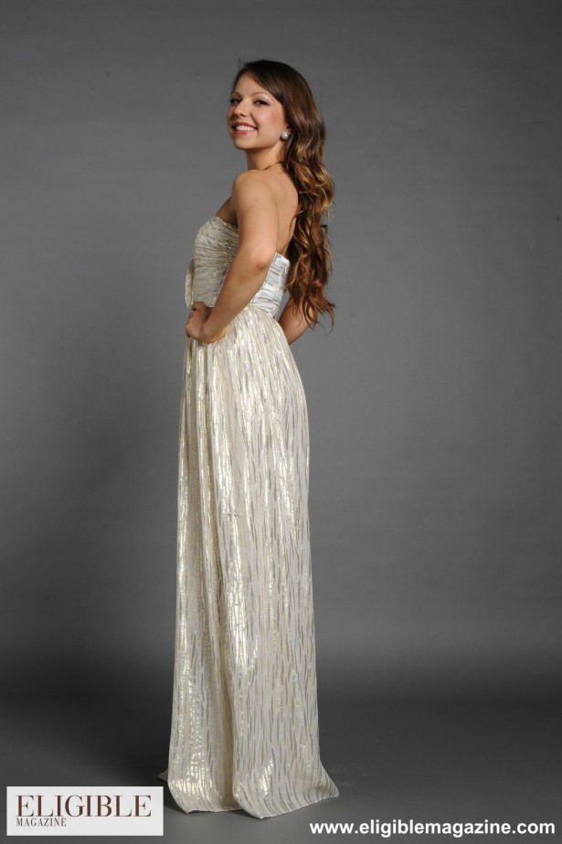 ERIN by Erin Fetherston Cream and Metallic Sweetheart Strapless Gown-Rental $120-Retail $600