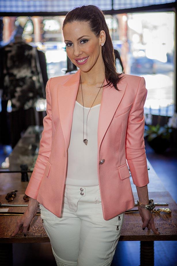 Balmain Single Breasted Woven Blazer in Pink $2395.00 - Balmain Jeans in White $1195