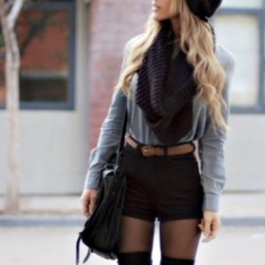 k6smtc-l-610x610-black+shorts-infinity+scarf-belt-black+beanie-grey+sweater-high+waisted+shorts-knee+high+boots-black+bag-fall+outfits-grey-long+sleeves-shorts-black+dress-black-outfit-beanie--blou