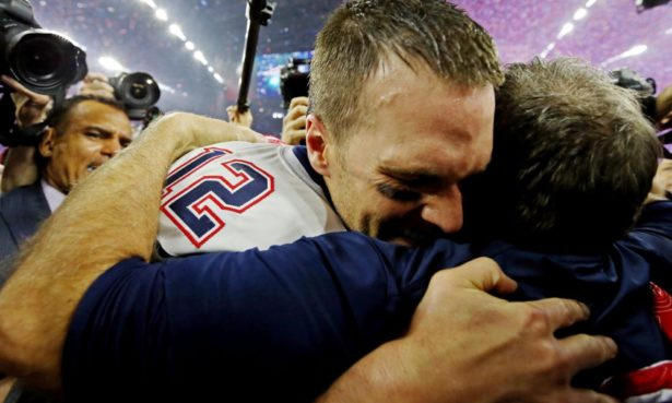 Feb 5, 2017; Houston, TX, USA; New England Patriots head coach Bill Belichick and quarterback Tom Brady (12) celebrate after beating the Atlanta Falcons during Super Bowl LI at NRG Stadium. Mandatory Credit: Matthew Emmons-USA TODAY Sports