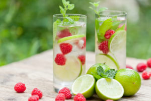 cucumber, mint raspberry, lemon and seltzer water