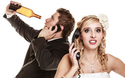 wedding-angry-bride-groom-talking-phone-relationship-difficulties-women-drunk-men-couple-quarreling-isolated-38963665